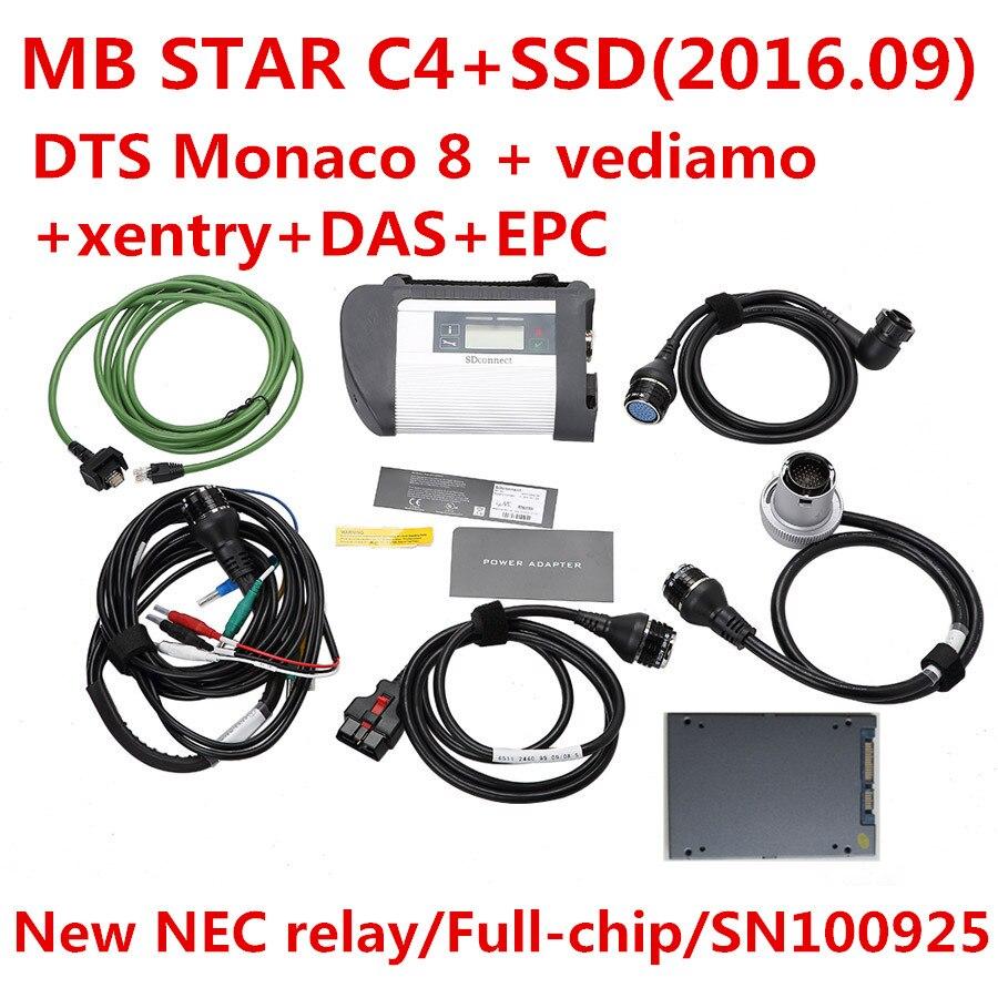 Prix pour 2016.09 mb étoile c4 AVEC 240 GB SSD win7 64WIN Système Logiciel DTS Monaco 8 + vediamo + xentry + DAS + EPC Complète super ingénieurs