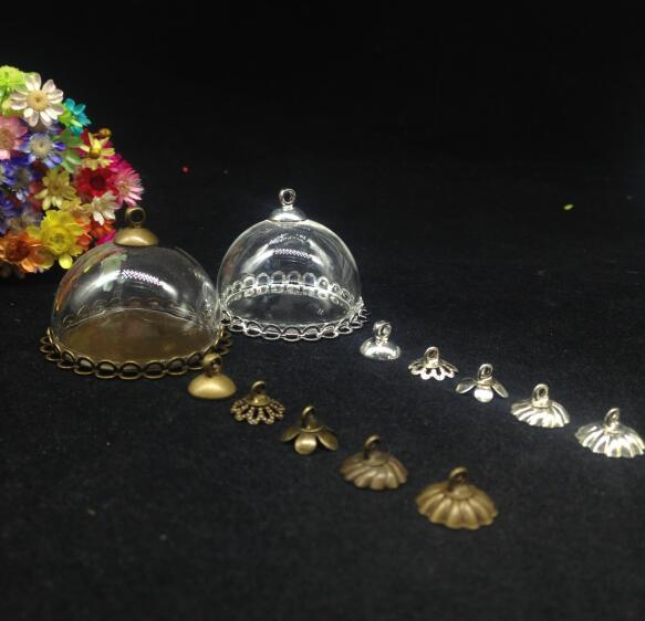 50pcs 30mm hollow half Glass dome cover double lace setting base glass vials pendant DIY glass globe bubble jars diy necklace