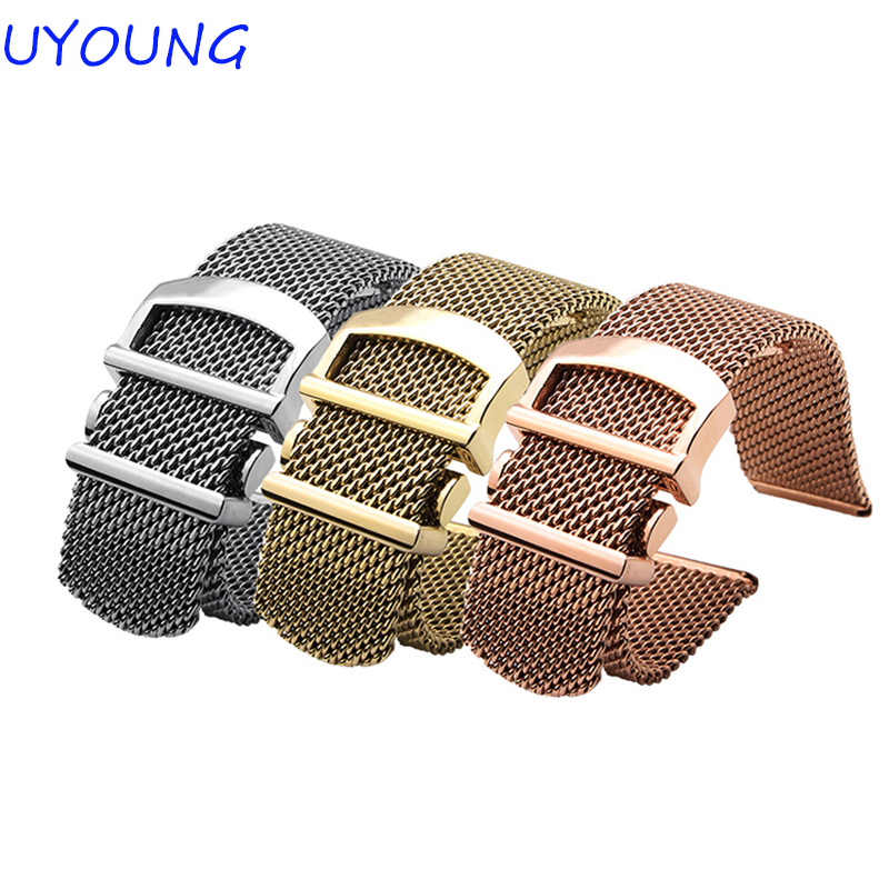 High quality stainless steel watchband 20mm Milanese Mesh belt rose gold watch accessories brand generalHigh quality stainless steel watchband 20mm Milanese Mesh belt rose gold watch accessories brand general
