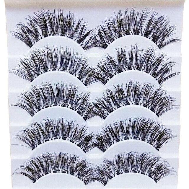 2019 maquillaje elegante de moda para mujer hecho a mano 5 pares de pestañas postizas largas naturales extensión exquisita #4