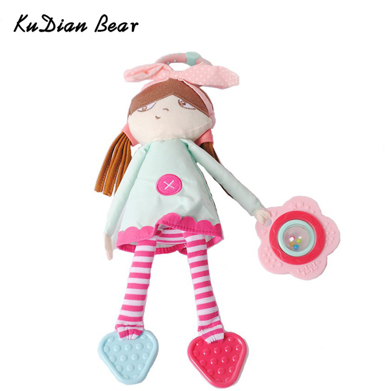 KUDIAN BEAR Baby Rattles Mobiles Doll Baby Toys Cute Plush Toy Baby Girl Doll Stroller Hanging Appease Dolls Toy BYC055 PT49