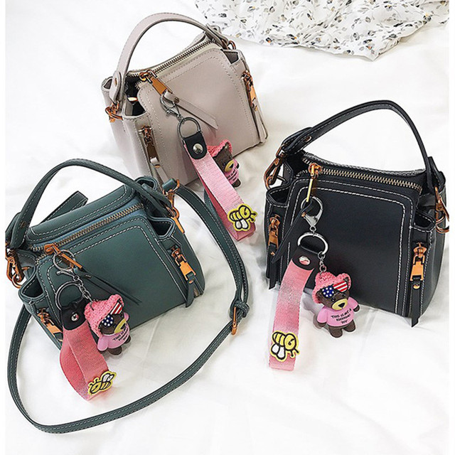 56c920035a59 ADIYATE Black Leather Bear Shoulder Bag Cheap Women Bags Small Office Bolsa  Kawaii Women s Handbags Bolsa Feminina Luxury Brand
