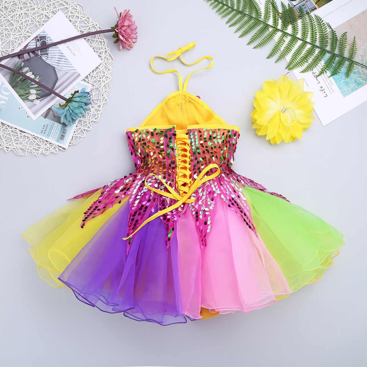 Vestido de Ballet con lentejuelas y flores para niñas, juego de pulsera con flores para niñas, vestidos de tutú de arco iris, atuendo de baile para niños