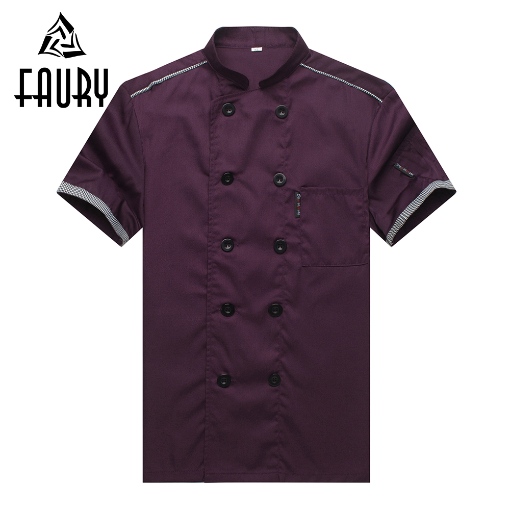 Unisex Summer Short Sleeve Work Wear Tops Chef Kitchen Cook Uniforms Double Breasted Restaurant Food Service Jacket Aprons M-4XL