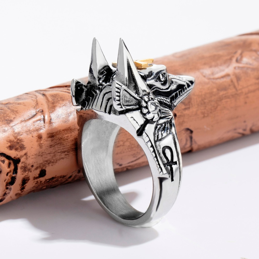 Retro Punk Anubis Beast Cross Stainless Steel Ring For Men gold Ankh Cross Design Animal Finger Ring Jewelry boy Gift size 7-12