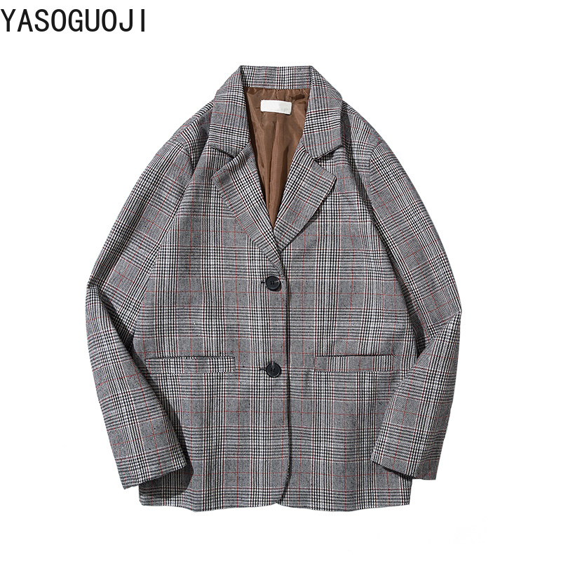 cc1f3e0445c YASUGUOJI 2019 new spring men s blazers casual plus size suit jacket  fashion Double Breasted plaid slim fit blazers men L036-in Blazers from  Men s Clothing ...