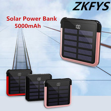 Solar Mini Power Bank 2.0A Portable Mini Power External Battery with Cable 5000mAh High Quality Quick Charge Solar Powerbank