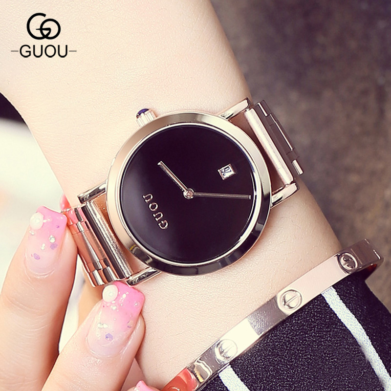 New GUOU Casual Simple Relogio Feminino Date Calendar Clock Female Stainless Steel Watch Ladies Quartz Wrist Women Watches new brand relogio feminino clock female waterproof stainless steel watch ladies fashion casual watch quartz wrist women watches