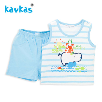 Kavkas Baby Clothes set 100% Cotton Bear On Hippo Printing Summer Wear Sleeveless Two Pieces Baby Boy Clothing Set