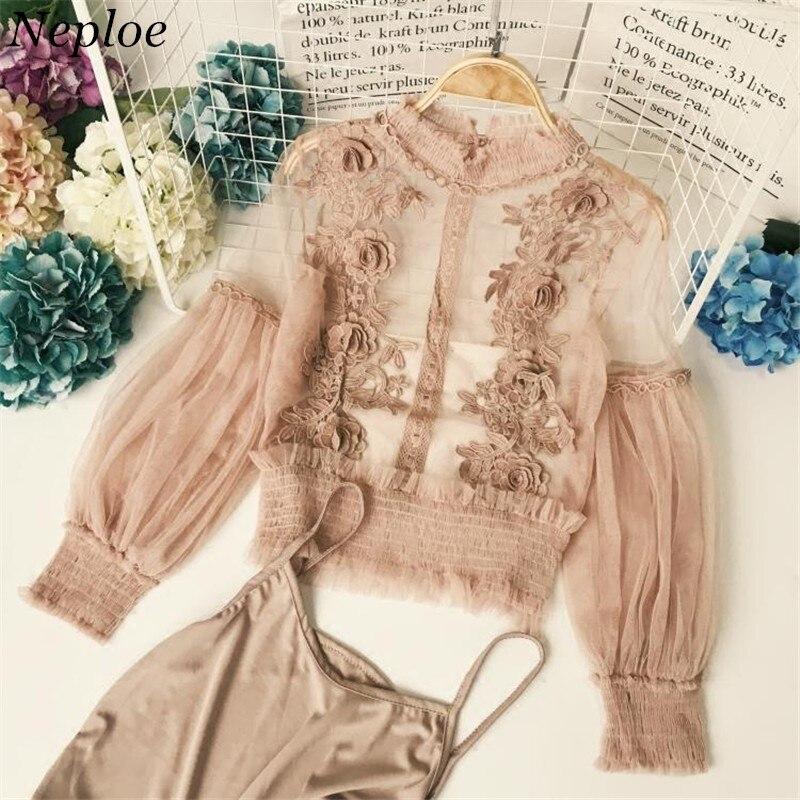 Neploe 3D цветок кружева женская блузка Новая мода Половина Водолазка прозрачные пышные рукава Blusas из двух частей сетки женские рубашки 66794