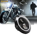 """7"""" Round 45W Daymaker Angle Eyes LED Projector Motorcycle Headlight For Cree DRL Bulb for Harley Davidson For harley levou farol"""