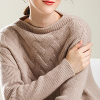 BELIARST Spring and Autumn new cashmere wool sweater women's round neck pullover fashion plaid loose knit underwear warm sweater