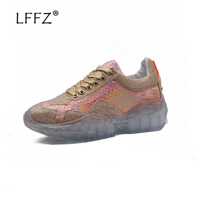 LFFZ Women Flat Shoes 2019 New Fashion Sneakers Women Shining Sequin Casual Shoes Unique Transparent Outsole Ladies Dance Shoes
