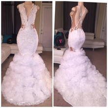 Sexy Designer White Mermaid Prom Dresses 2018 Plunging V Neck Puffy Skirt Lace Applique Criss Cross Backless Long Party Gowns цены