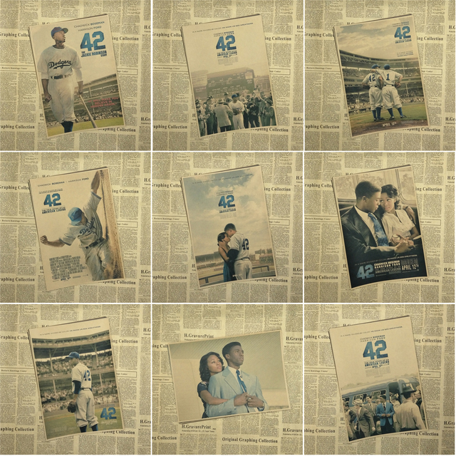 42 Jackie Robinson Baseball Cooperstown Yankees Dodgers Movie Art ...