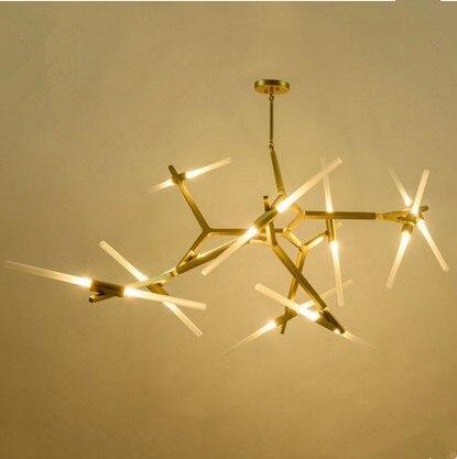 The Nordic Aluminum Rotatable art designer led villa living room pendant lights creative personality Tree Restaurant lamp ZH