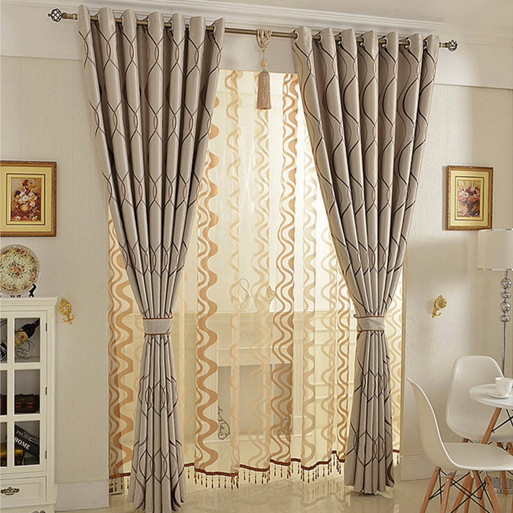 exciting living room curtains drapes | European Jacquard Blackout Curtain for Bedroom Window ...