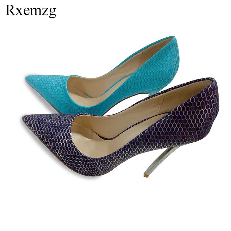 Rxemzg 2018 sexy shoes woman pointed toe extreme high heels stiletto women pumps wedding shoes party dress pumps big size 33-45 big size 40 41 42 women pumps 11 cm thin heels fashion beautiful pointy toe spell color sexy shoes discount sale free shipping