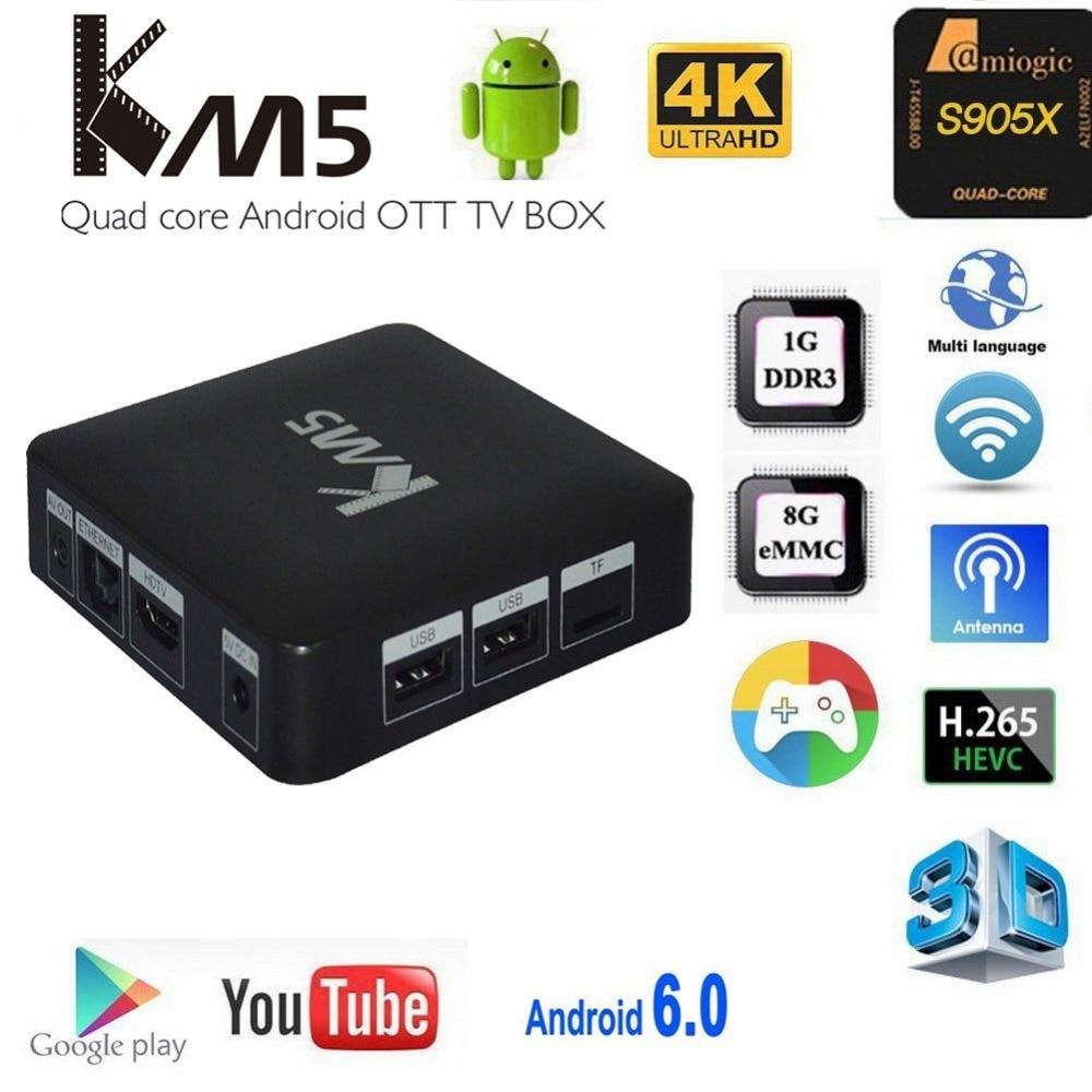 KM5 TV Box 5pcs Android 6.0 Amlogic S905X Quad Core 1G/8G 2.4G WIFI IPTV Smart TV Box Media Player Set Top Box europe arabic iptv box t95n android tv box amlogic s905x quad core t95n 3500 russia usa brazil iptv channels media player