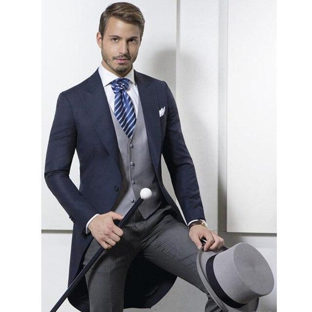 2017 Dark Navy England Style Men Suits Blazer Grey Stripe Pants Groom Tuxedos Mens Wedding Suit