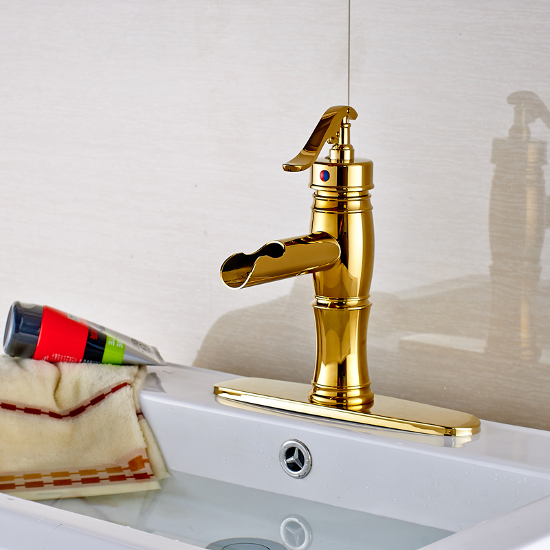 Golden Finished Deck Mounted Bathroom Sink Faucet Single Handle/Hole Mixer Tap ceramic single handle bathroom vanity sink mixer tap chrome finished