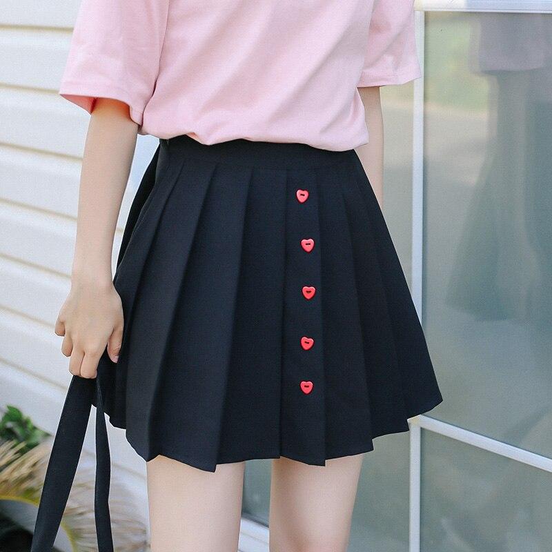 07496dc55f Korean Fashion High Waist Heart Button Mini Skirt for Women Summer Ulzzang  Harajuku Kawaii Schoolgirl Black Pleated Skirts