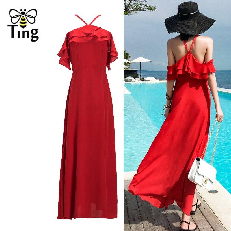 Tingfly nouvelle mode à la mode Boho robe femmes été couleur rouge Maxi robe Sexy licou dos nu offre épaule volants robes longues