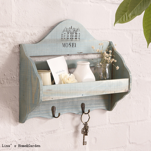Wall Hanging Vintage Shabby Chic Small Wood Shelf For