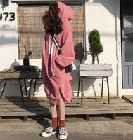 To Film Han Edition New Winter Leisure Loose Side Split Draw String Hooded Added Velvet Long