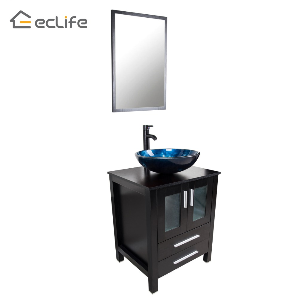 Bathroom Vanities 2016: Eclife 2016 New Modern Bathroom Vanity + Round Blue Glass