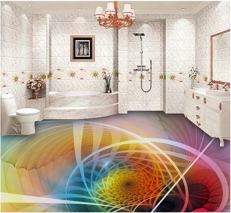 Us 210 58 Offcool 3d Geometric Textures Fashion Floor Videos Pvc Self Adhesive Wallpaper Bathroom Floor Wallpaper Home Decoration In Wallpapers