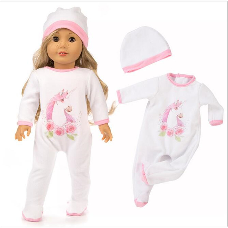Clothes For Doll Fit 18 Inch 43cm Born New Baby Unicorn Flamingo Pajama Suit Clothes Accessories For Baby Gift