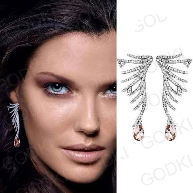 Image 2 - GODKI Famous Brand Luxury Feather African Dangle Earrings For Women Wedding Cubic Zircon Crystal CZ Dubai Indian Bridal Earrings-in Drop Earrings from Jewelry & Accessories