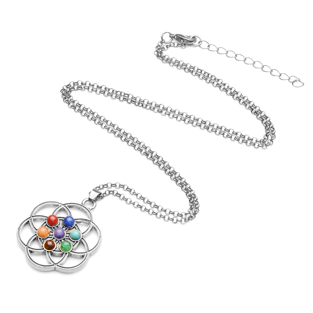 Chakras Pendants Natural Stone Reiki 7Chakra Necklaces Healing Yoga Meditation Crystal Necklace for Women Men Necklace Pendulo in Pendant Necklaces from Jewelry Accessories