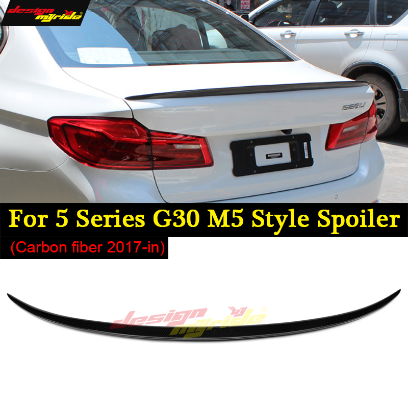 Carbon Fiber Car Rear Spoiler Trunk Boot Lip Wing for BMW G30 M5 Spoiler 5 Series 530i 540i F90 & M5 Base Sedan 4-Door 2017-2018 carbon fiber car rear bumper extension lip spoiler diffuser for bmw x6 e71 e72 2008 2014 xdrive 35i 50i black frp