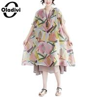 Oladivi Big Plus Size Women Apparel Short Sleeve Printed Summer Chiffon Dress Ladies Casual Loose Beach Dresses Tunic Vestidios