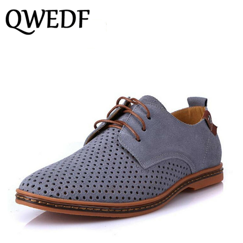 QWEDF Men Oxfords Shoes Man 2018 Summer Breathable   Suede     Leather   Shoes British Man Cut Outs Dress Shoes Big Size 38-48 XX-033