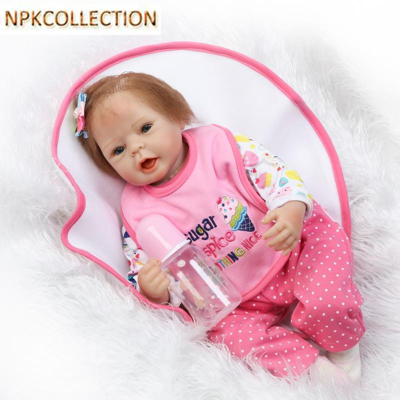 NPKCOLLECTION 47CM Silicone Reborn Dolls Baby Alive Soft Toys for Girls,Realistic Reborn Dolls Babies Bonecas Cotton Body Dolls npkcollection 50 cm real dolls baby alive bonecas realistic silicone reborn dolls soft toy for girls birthday xmas gift juguete
