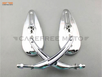 Chrome Skull Teardrop Motorcycle Mirror Moto Rearview Side Mirror Case For Harley Sportster Dyna Touring Softail