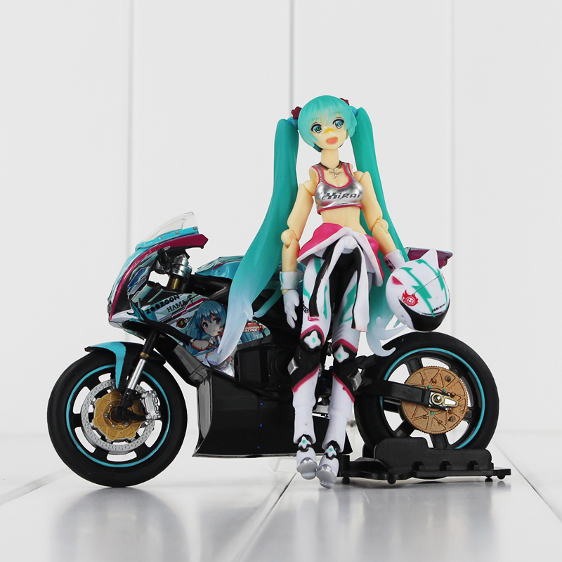 New Hatsune Miku Motorcycle Figma 233# Japan Anime Dolls Hatsune Miku PVC Action Figure Model Toys Free Shiping 21cm action hatsune miku figure toys pvc kids toys juguetes 6 japan anime figures nendoroid brinquedos kids toys ss0045