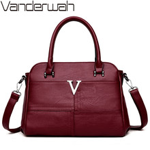 VANDERWAH Top-handle bags Leather luxury handbags women bags designer female Embroidery casual shoulder bag Tote for girls SAC(China)