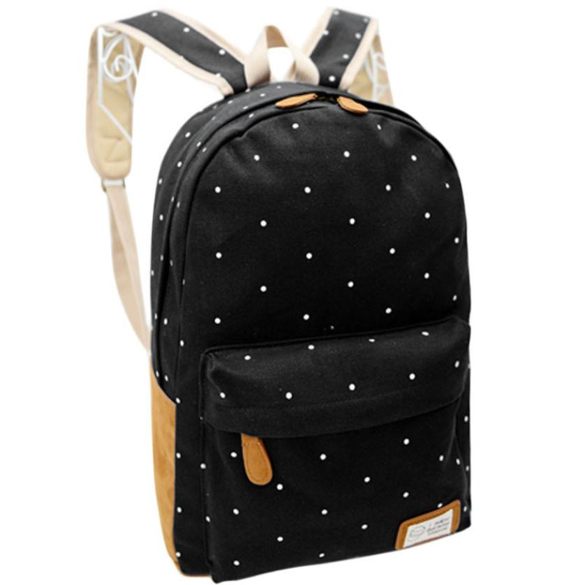 Women Girl Canvas Rucksack Polka Dot Printing Backpack School Book Shoulder Backpacks Bags Double Shoulder Bags School Bag-12 tangimp drawstring backpacks embroidery dear my universe cherry rocket printing canvas softback man women harajuku bags 2018