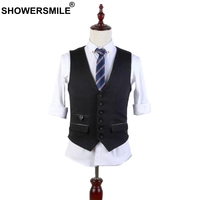SHOWERSMILE Black Dress Vests For Men Winter Autumn Slim Fit Waistcoat Wool Vest British Style Sleeveless Jacket Chaleco Hombre