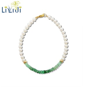 Image 1 - LiiJi ייחודי טבעי אמרלד מים מתוקים פרל חרוזים 925 סטרלינג כסף זהב צבע/גולדפילד צמיד נחמד מתנה עבור נשים