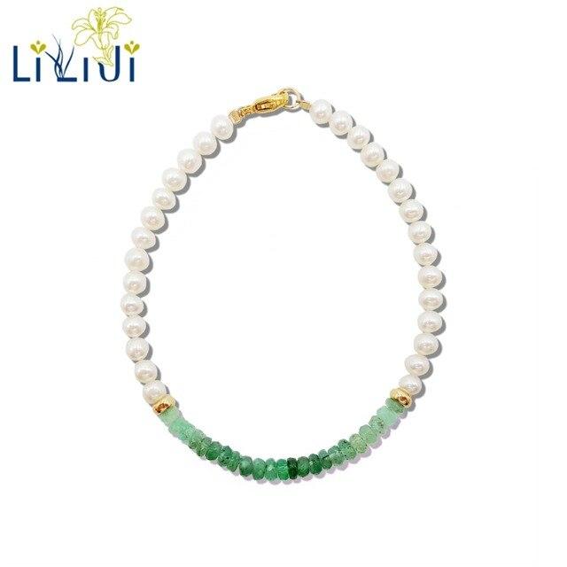 LiiJi ייחודי טבעי אמרלד מים מתוקים פרל חרוזים 925 סטרלינג כסף זהב צבע/גולדפילד צמיד נחמד מתנה עבור נשים