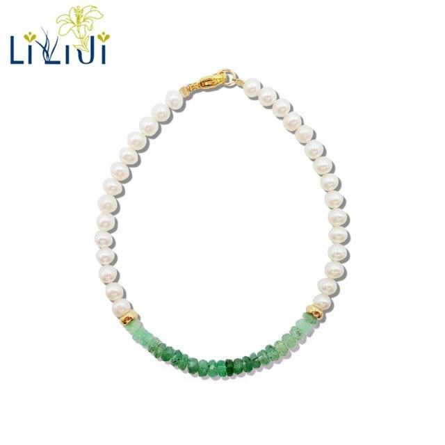LiiJi Unique Natural Emerald Freshwater Pearl Beads 925 Sterling Silver Gold Color/Goldfilled  Bracelet Nice Gift for Women