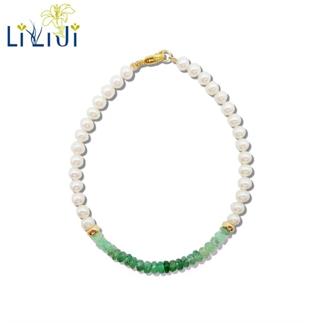 LiiJi Unique Natural Emeralds Freshwater Pearl Beads 925 Sterling Silver Gold Color/Goldfilled  Bracelet Nice Gift for Women