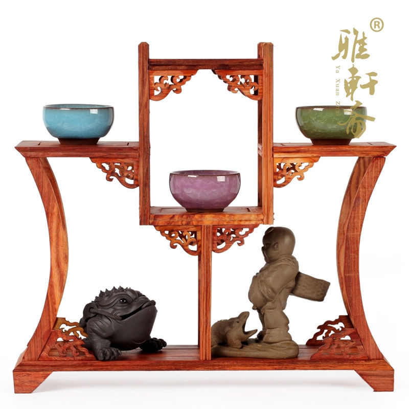 ᗗYa xuanzhai sándalo rojo Rosewood tallado adornos tetera base ...