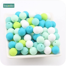 Bopoobo Baby Accessories Teether Green Series 15mm 10pc Food Grade Teething Silicone Bead DIY Nursing Bracelet Baby Teether
