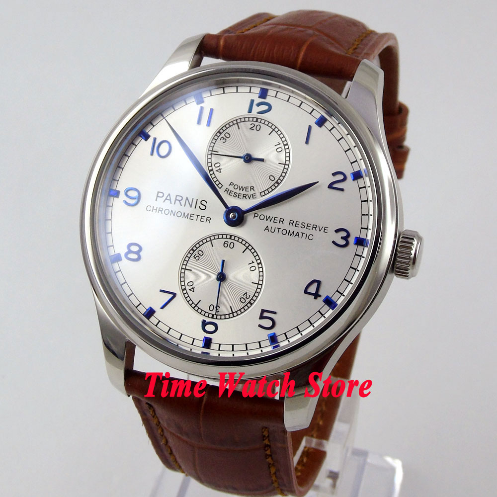 Parnis 43mm silver dial Power reserve brown leather strap ST2542 Automatic movement Men's watch 99 цена и фото